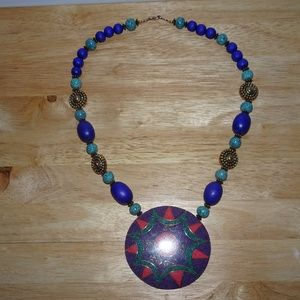 Beaded Sun Tribal Pendant Statement Necklace